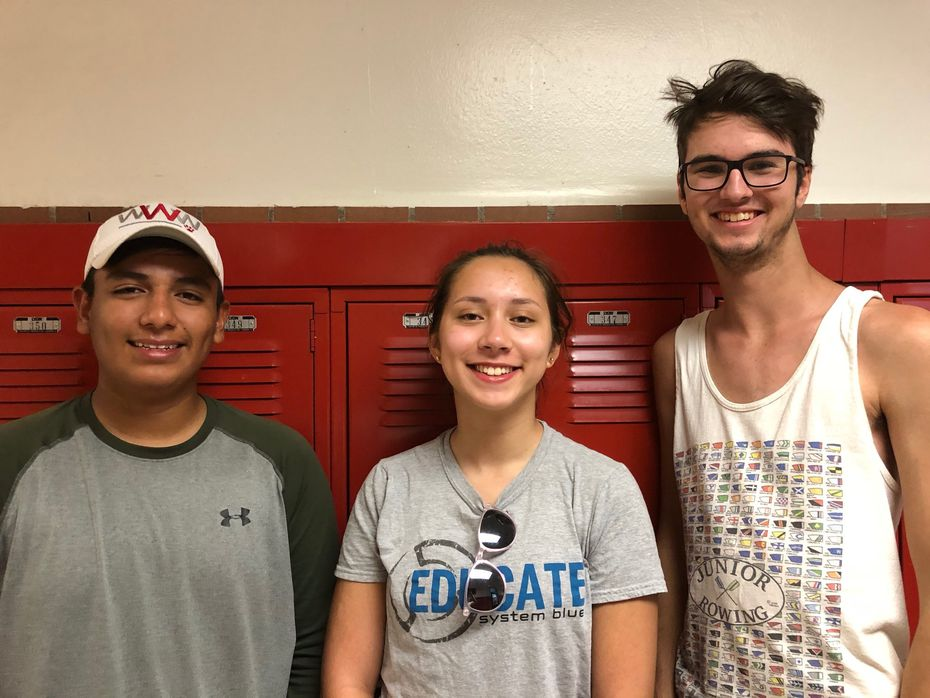 Members of the Woodrow band leadership team include, from left, Francisco Reyna, Kaylin Ramsey and Eric Fleitman.
