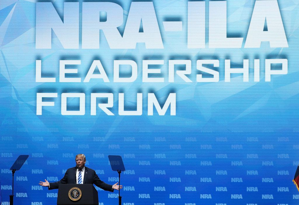 President Donald Trump speaks at the NRA-ILA Leadership Forum during the NRA Annual Meeting & Exhibits at the Kay Bailey Hutchison Convention Center on Friday in Dallas, Texas.  The National Rifle Association's annual meeting and exhibit runs through Sunday.