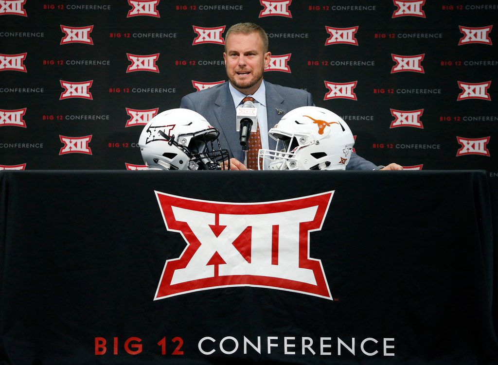 Texas head football coach Tom Herman speaks during Big 12 Media Days at Ford Center at The Star in Frisco, Texas, Tuesday, July 17, 2018. (Jae S. Lee/The Dallas Morning News)