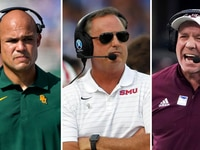 From L to R: Baylor coach Dave Aranda, SMU coach Sonny Dykes and Texas A&M coach Jimbo Fisher.