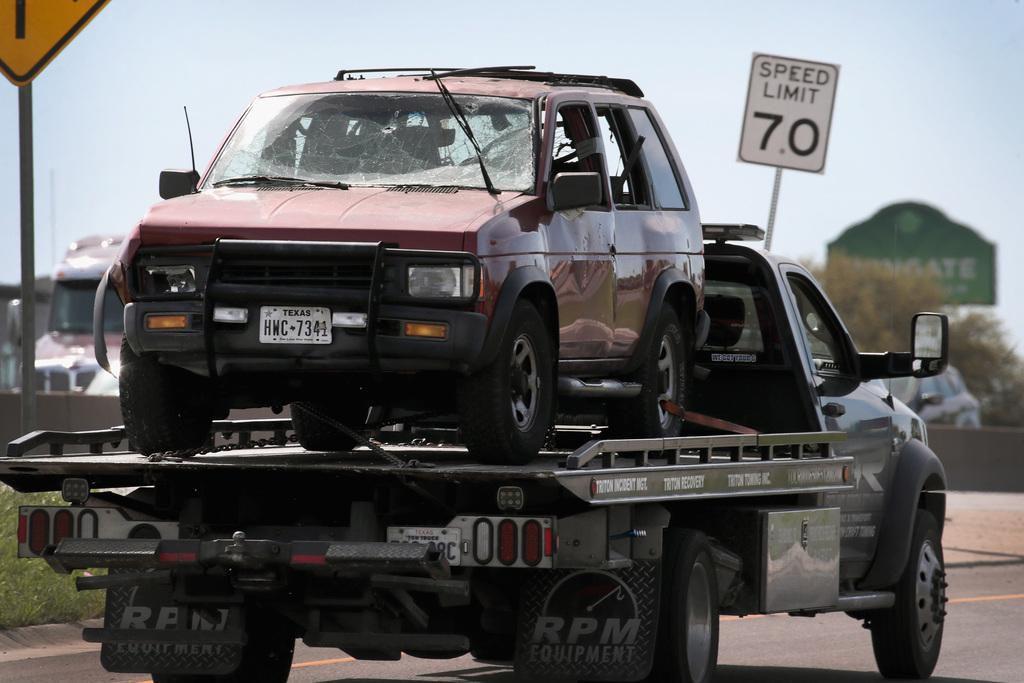El vehículo que Mark Anthony Conditt hizo explotar cuando huía de las autoridades. Conditt dejó un video en el que contó cómo hizo las bombas. (GETTY IMAGES/SCOTT OLSON)