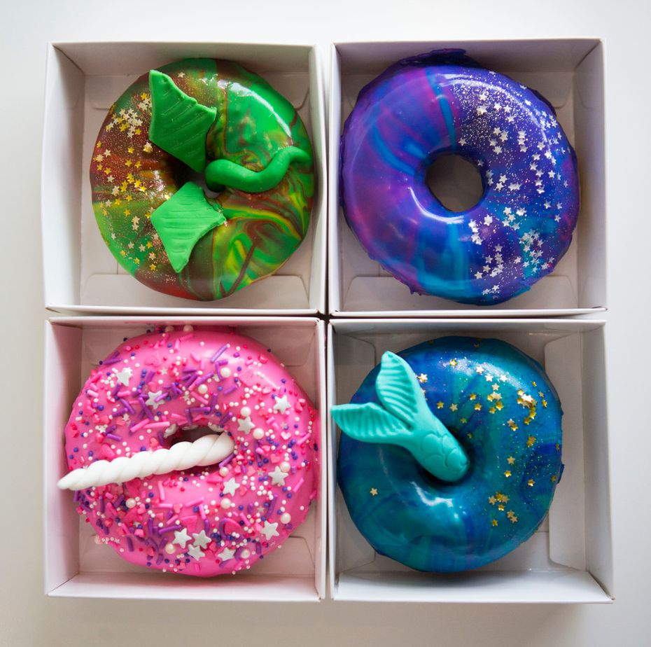 Sweet Daze is serving doughnuts like we've never seen in North Texas. Here's (from top right, clockwise) the galaxy doughnut, mermaid doughnut, unicorn doughnut and dragon doughnut.