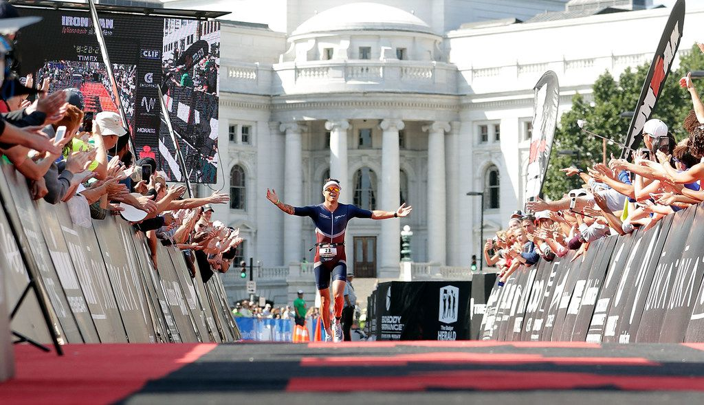 Patrick McKeon finishes in third place during the Ironman Madison on Sept. 10, 2017, in Madison, Wis.