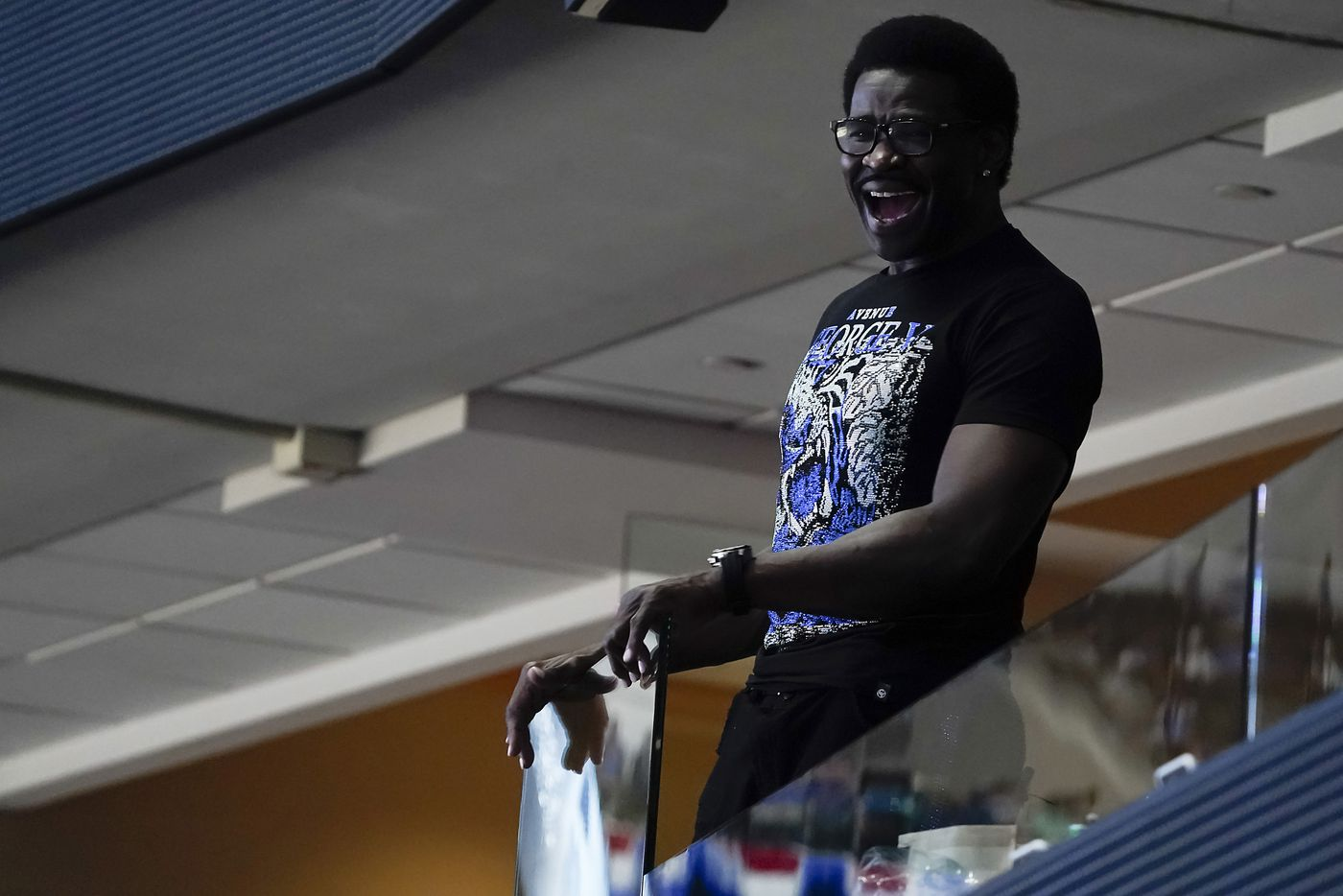 Michael Irvin watches the Dallas Mavericks face the LA Clippers during the third quarter of an NBA playoff basketball game at American Airlines Center on Friday, May 28, 2021, in Dallas.