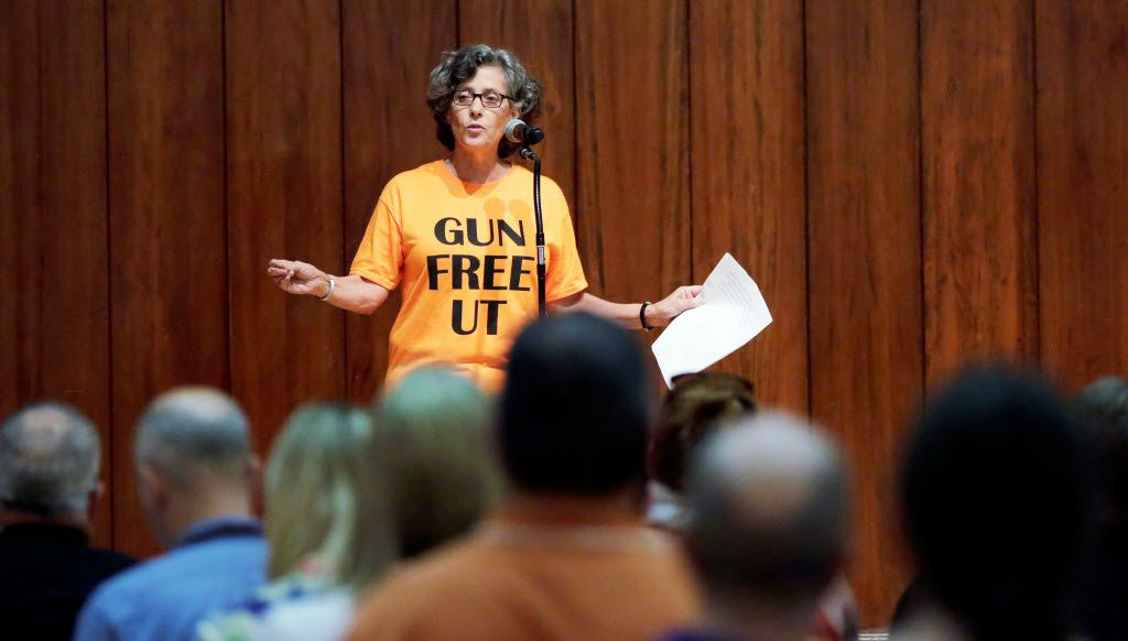 University of Texas at Austin professor Joan Neuberger spoke during a public forum on how to implement a new law allowing students to carry concealed weapons  in class and other campus buildings. The law took effect in August 2016.