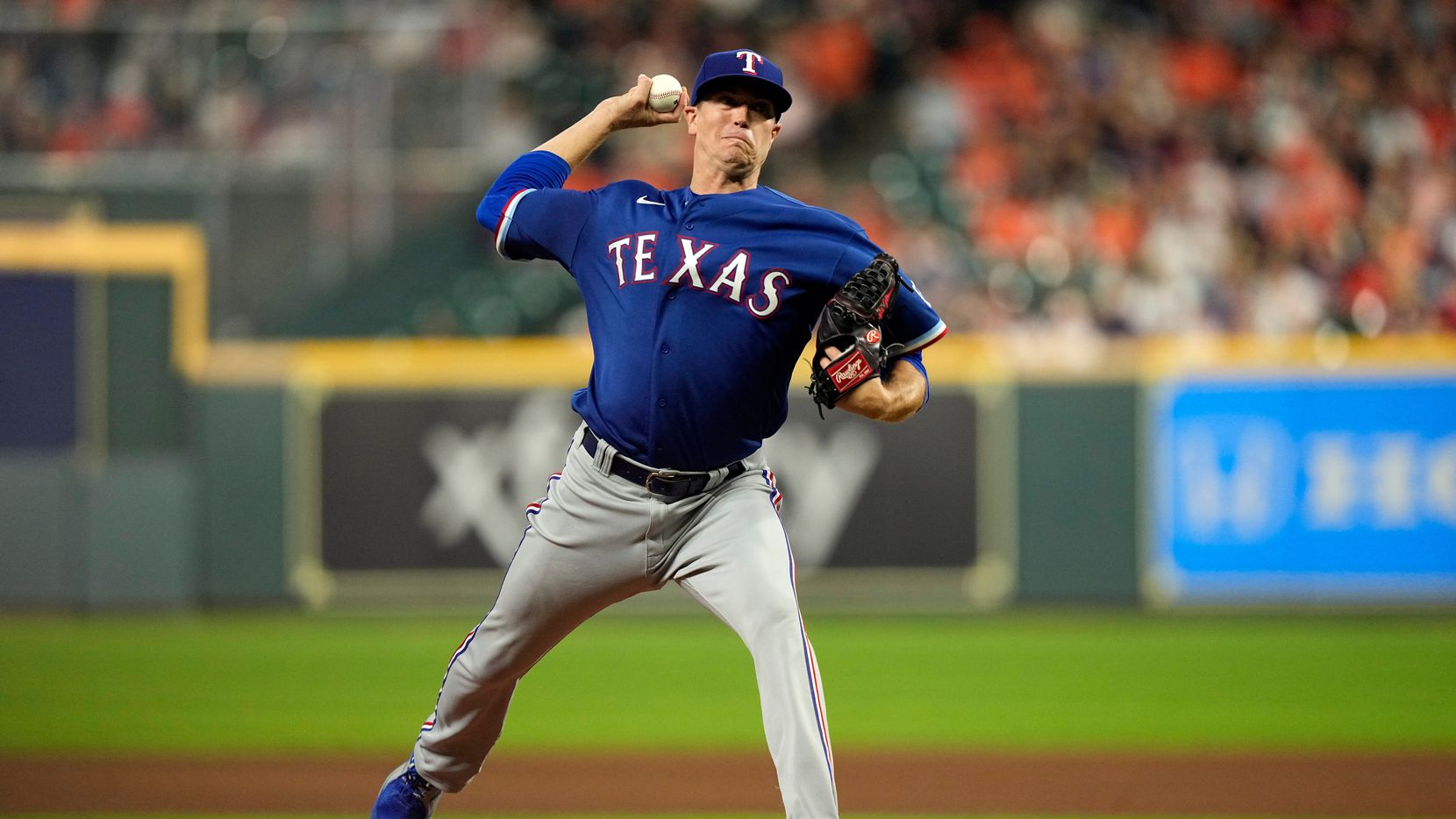 Texas Rangers starting pitcher Kyle Gibson throws against the Houston Astros during the first inning of a baseball game Tuesday, June 15, 2021, in Houston.