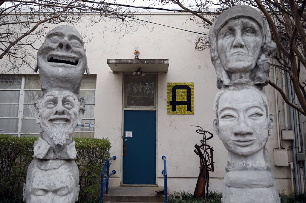 Stone heads frame the main entrance to the Creative Arts Center of Dallas Thursday, December 4, 2014 in east Dallas. (G.J. McCarthy/The Dallas Morning News) 01022015xGUIDE