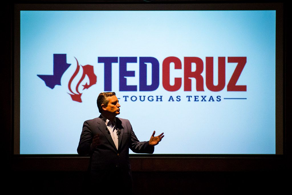 Sen. Ted Cruz addresses supporters at a campaign event at River Ranch Stockyards on Wednesday, April 4, 2018, in Fort Worth, Texas.