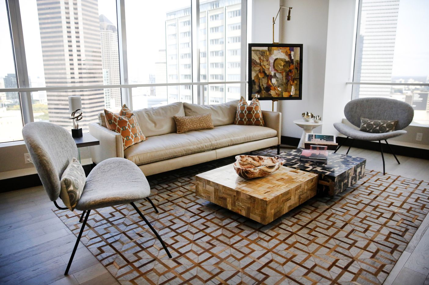 The living area of a two-bedroom, two-bath apartment in The National.