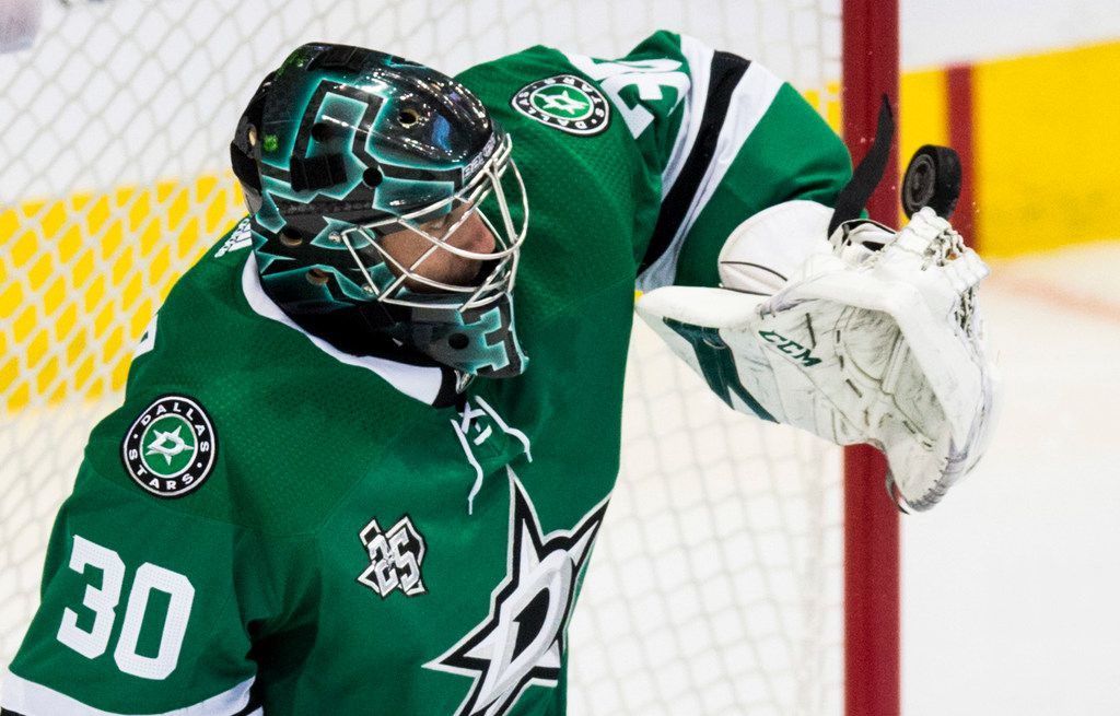 Dallas Stars goaltender Ben Bishop (30) blocks a puck during the second period of an NHL game between the Dallas Stars and the Toronto Maple Leafs on Thursday, January 25, 2018 at the American Airlines Center in Dallas. (Ashley Landis/The Dallas Morning News)