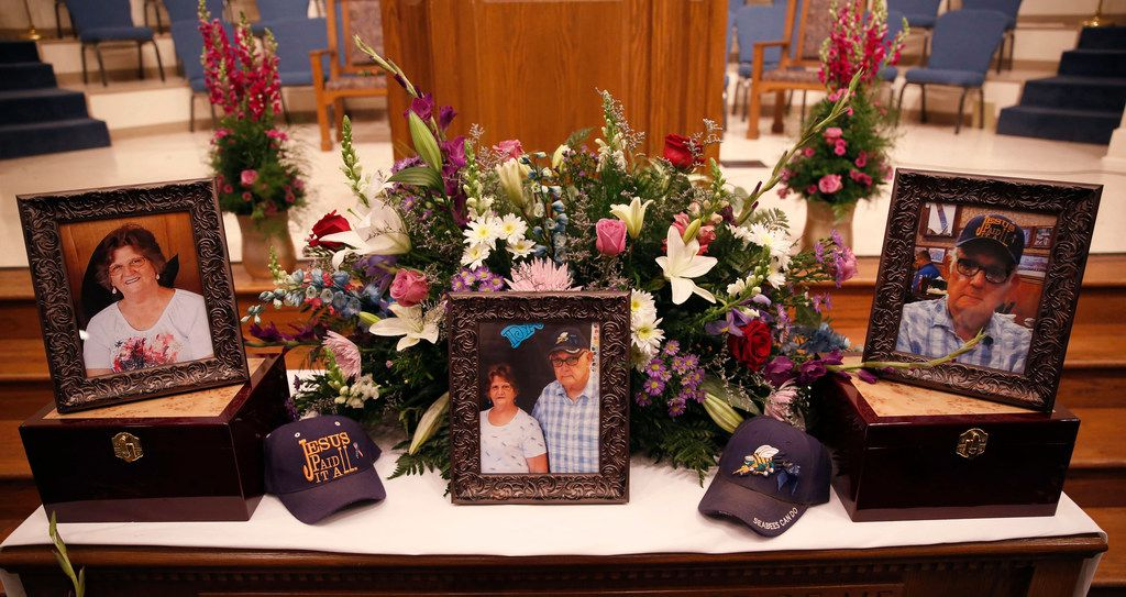 A memorial to Dennis and Sara Johnson at their funeral at First Baptist Church in Floresville, Texas on Nov. 12, 2017. The The Johnsons were killed in the First Baptist Church in Sutherland Springs, Texas the site of a shooting that killed 26 parishioners and left 30 injured.