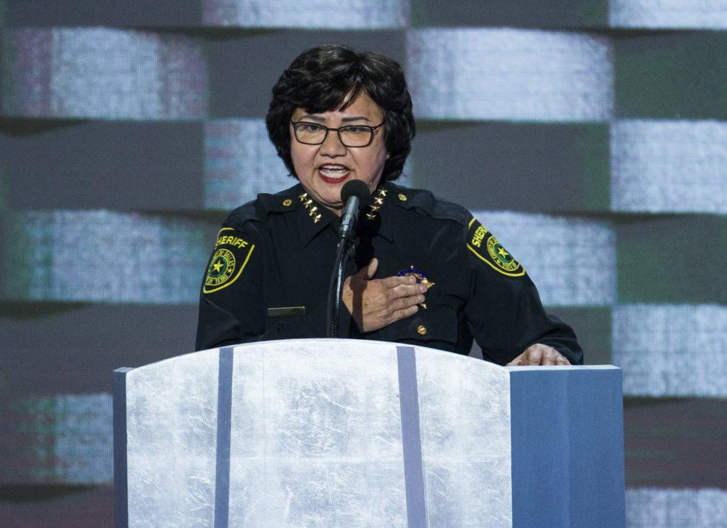 Dallas County Sheriff Lupe Valdez speaks during the Democratic National Convention in July 2016.