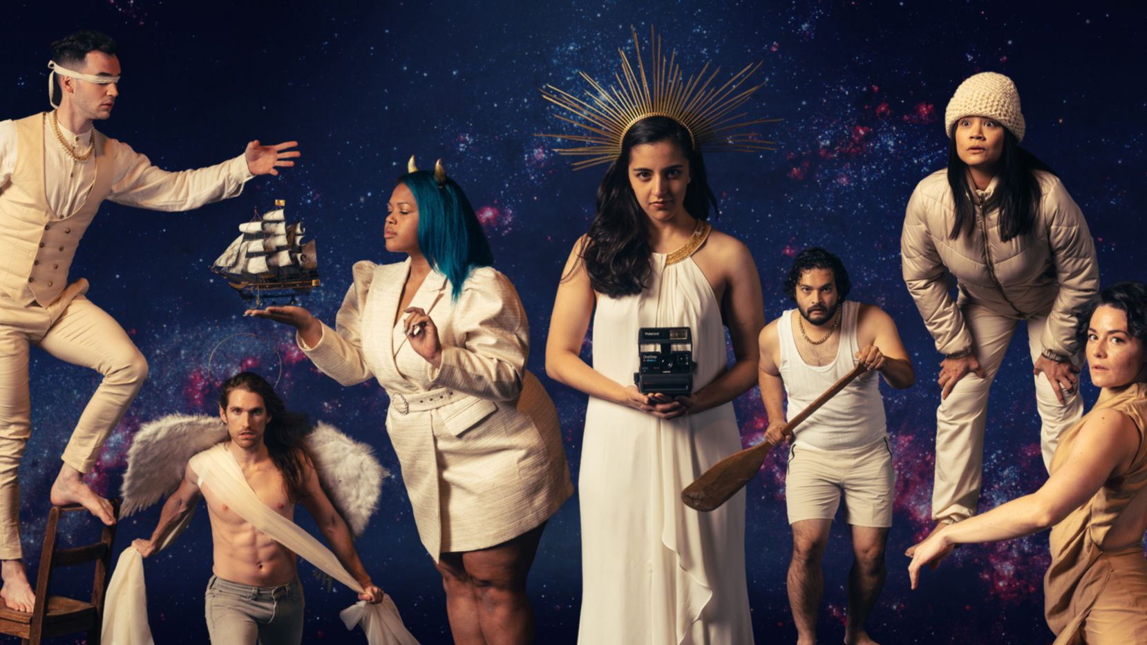 """From left, Mitchell Stephens, Garret Storms, Victoria A. Cruz, Shyama Nithiananda, Galen Sho Sato, Olivia de Guzman and Kelsey Milbourn play explorers of the nexus between joy and terror in Moonrise Initiative's production of """"In Search of the Sublime,"""" being presented live over Zoom by Fort Worth's Stage West Theatre through March 21."""