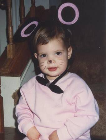 """Leslie Cohn-Wein dressed as """"Baby Minnie"""" one year for Halloween, to match her beloved stuffed toy."""