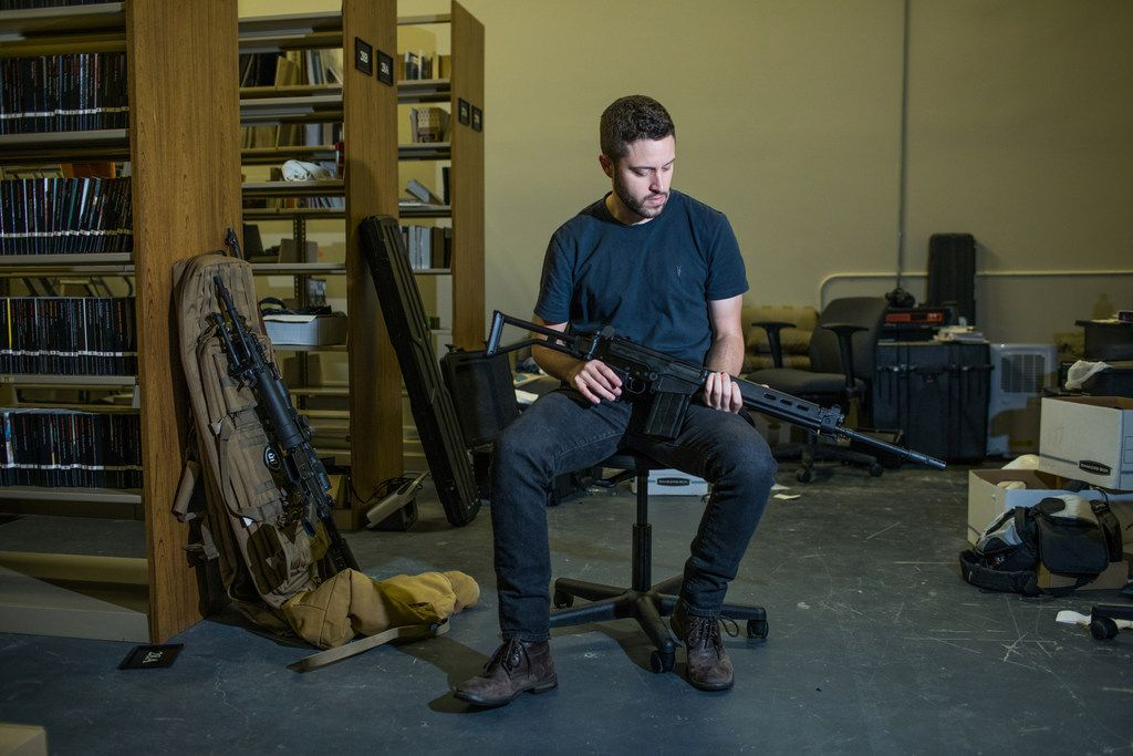 Cody Wilson, director of Defense Distributed, sits in his library behind the company's factory in Austin, Texas, on Aug. 5. MUST CREDIT: Photo for The Washington Post by Tamir Kalifa