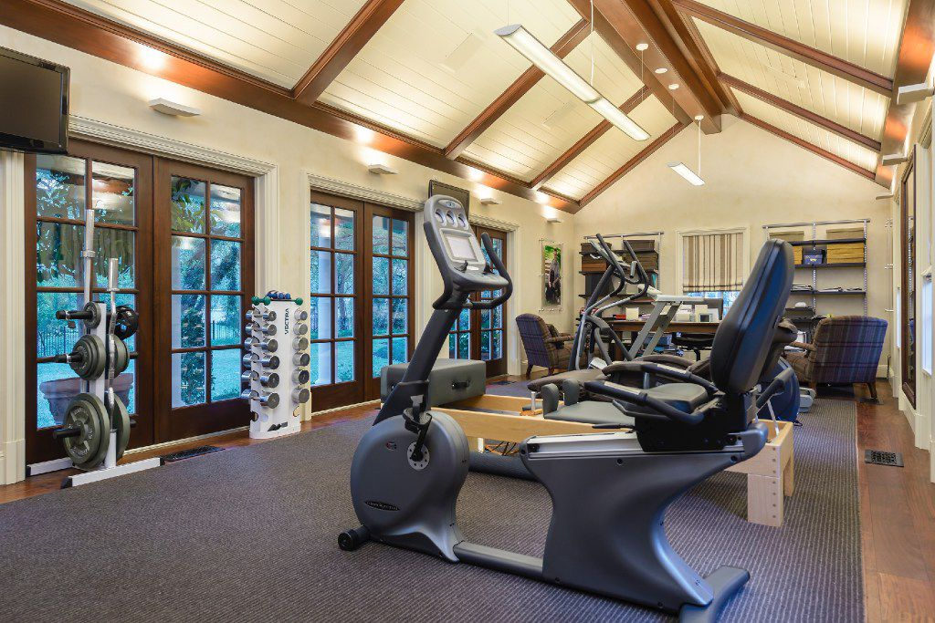 The fitness room at 4800 Park Lane, formerly the home of Dallas oilman Frank Cass and his wife, Dee.