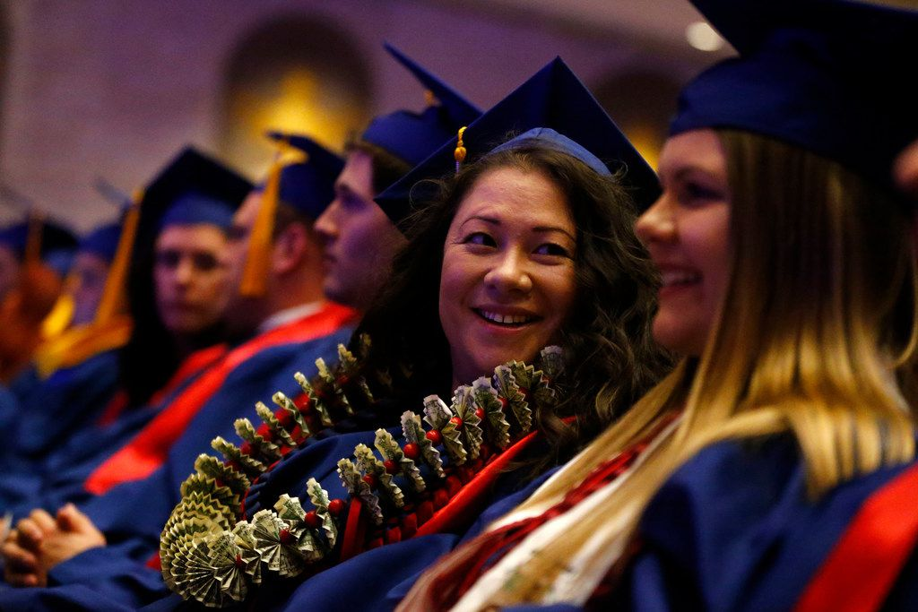 Wendy Birdsall during graduation from SMU at McFarlin Auditorium in Dallas on Friday. She was homeless as a teen and a drug addict with a history of arrests. But she turned her life around and decided to pursue an education. She went to community college before enrolling at SMU.