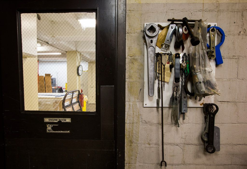 Tools and keys hang on the wall outside the maintenance break room in the basement of the 508 Young Street location of The Dallas Morning News on Wednesday, December 6, 2017. The Dallas Morning News headquarters recently moved to 1954 Commerce Street.