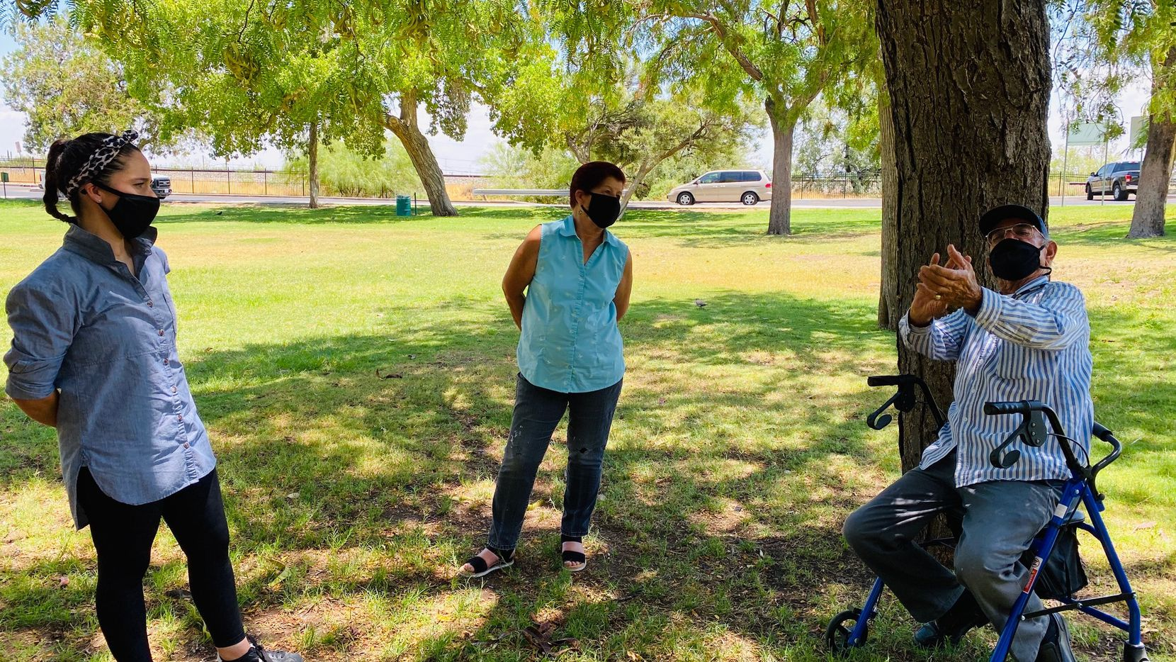 Walmart shooting survivors Adria Gonzalez (left), her mother Agueda Ponce Torres and Eduardo Castro reunited on July 20th at a park in El Paso. The three recalled the tragic Aug. 3 massacre last year as Castro mimicked the sounds of gun blasts.