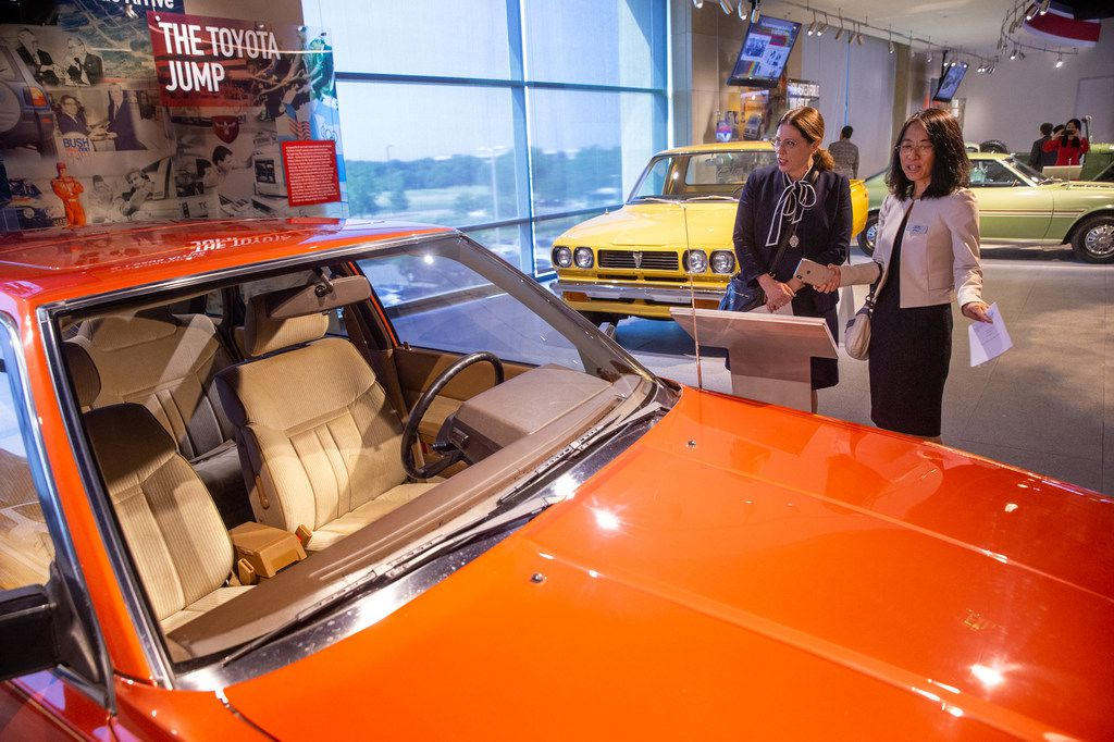 Newsroom Editor at Toyota North America Alison Powell (left) and Plano council member Lily Bao attend the grand opening of the Toyota Experience Center at the Toyota North American headquarters in Plano, Texas, on Wednesday, Aug. 7, 2019. The center is the motor company's first and only comprehensive museum space. (Lynda M. Gonzalez/The Dallas Morning News)