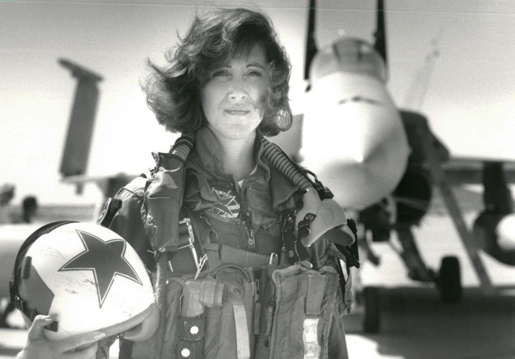 In a photo provided by the U.S. Navy, Lt. Tammie Jo Shults with her F/A-18A jet in 1992. Shults, one of the Navy's first female fighter pilots, was in command of Southwest Airlines Flight 1380 when its engine exploded on April 17, 2018; for the next 40 minutes, she maneuvered the plane safely to an emergency landing in Philadelphia. (Thomas P. Milne/U.S. Navy via The New York Times) -- FOR EDITORIAL USE ONLY --
