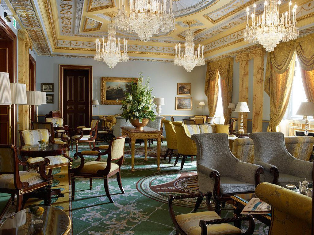 Sparkling chandeliers and a sunny palette of colors make The Withdrawing Room at The Lanesborough a favorite place for afternoon tea.