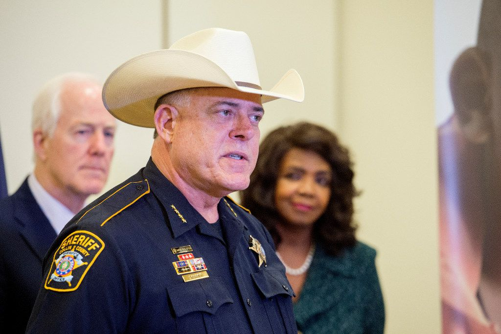 Collin County Sheriff Jim Skinner spoke to the media last August about the Internet Crimes Against Children (ICAC) Task Force Program as Sen. John Cornyn, R-Texas and Dallas District Attorney Faith Johnson looked on at the Dallas Children's Advocacy Center in Dallas.