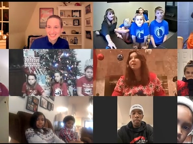 Local children of the Tragedy Assist Program for Survivors participate in a Zoom call with Mavericks' Josh Richardson. (Screenshot)