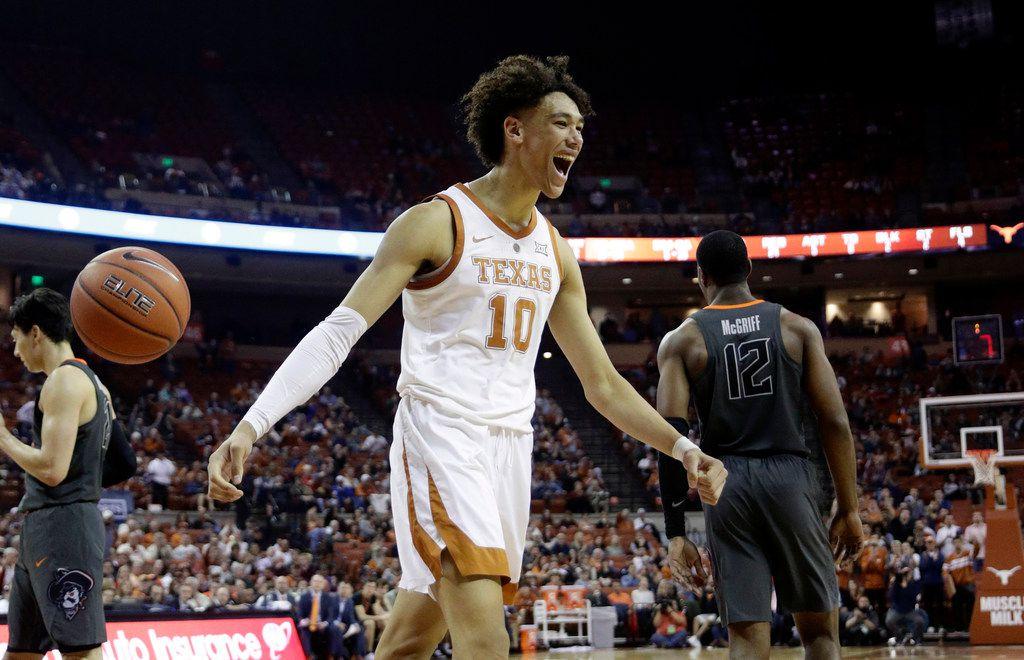 Texas forward Jaxson Hayes (10) celebrates a play during the second half of an NCAA college basketball game against Oklahoma State, Saturday, Feb. 16, 2019, in Austin, Texas. Texas won 69-57. (AP Photo/Eric Gay)