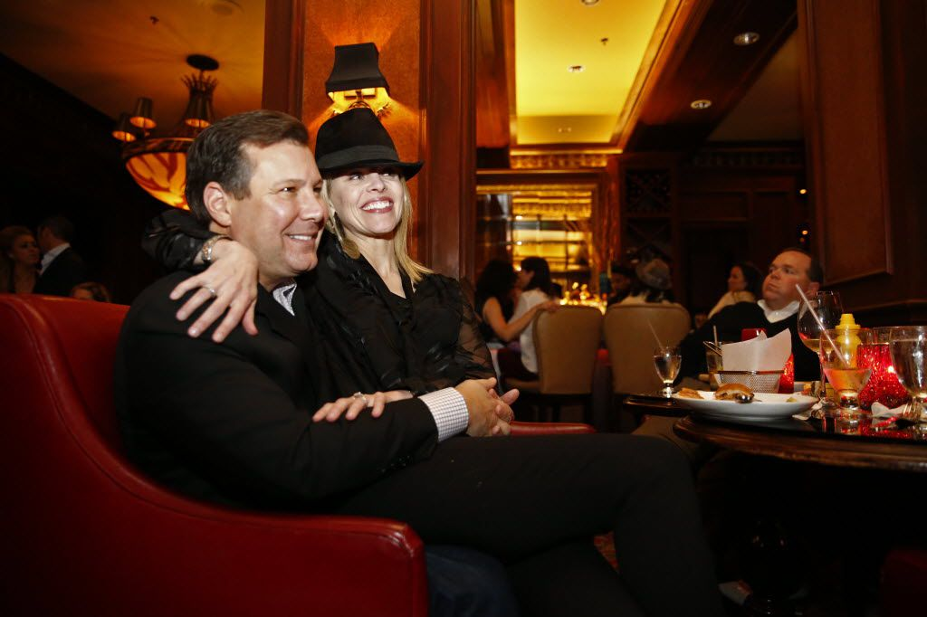 Jane and Spencer Malouf pose for a picture during a celebration of  Frank Sinatra's 100th birthday at the Library Bar in the Warwick Melrose Hotel in Dallas December 12, 2015.