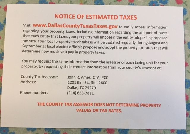 Back of postcard sent to Dallas County property owners in August 2021.