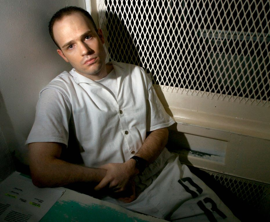 "In this Dec. 3, 2003, file photo, Texas death row inmate Randy Halprin, then 26, sat in a visitation cell at the Polunsky Unit in Livingston. Halprin, a Jewish death row inmate who was part of the ""Texas 7"" gang of escaped prisoners, has filed an appeal claiming former District Judge Vickers Cunningham was anti-Semitic and frequently used racial slurs. Halprin argues that Cunningham should've recused himself."