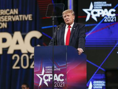 Former president Donald Trump speaks at the Conservative Political Action Conference on Sunday, July 11, 2021, in Dallas. (Elias Valverde II/The Dallas Morning News)