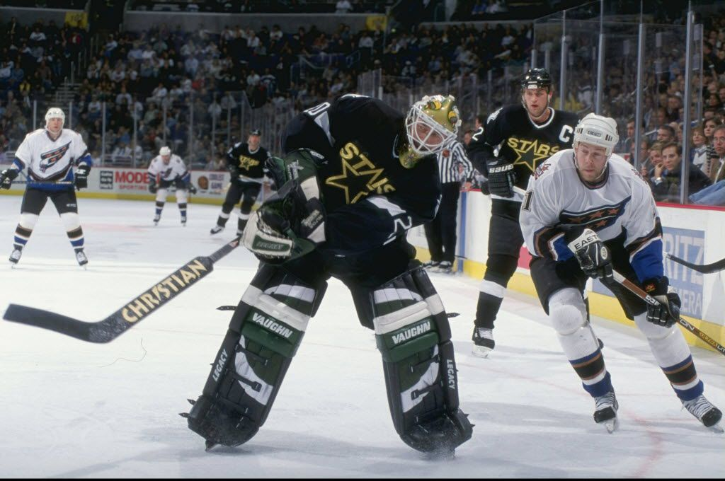 17 Mar 1999:  Goallie Ed Belfour #20 of the Dallas Stars in action during the game against the Washington Capitals at the MCI Center in Washington, D.C. The Capitals defeated the Stars 2-1.