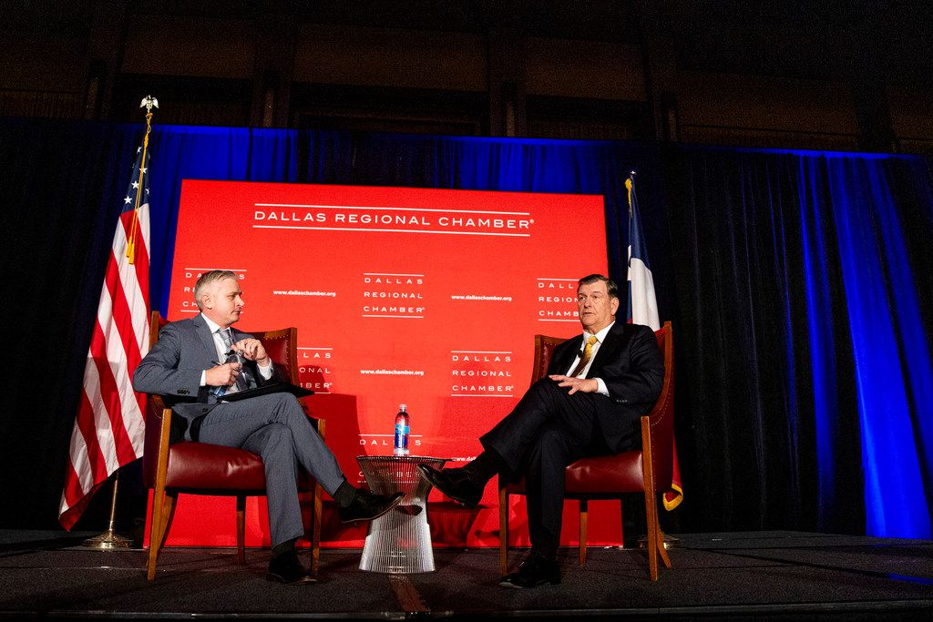 DMN deputy editorials editor Rudy Bush converses with Dallas Mayor Mike Rawlings during Rawlings final State of the City address at the Dallas Regional Chamber luncheon at the Hyatt Regency Dallas on Tuesday, December 4, 2018. (Shaban Athuman/The Dallas Morning News)