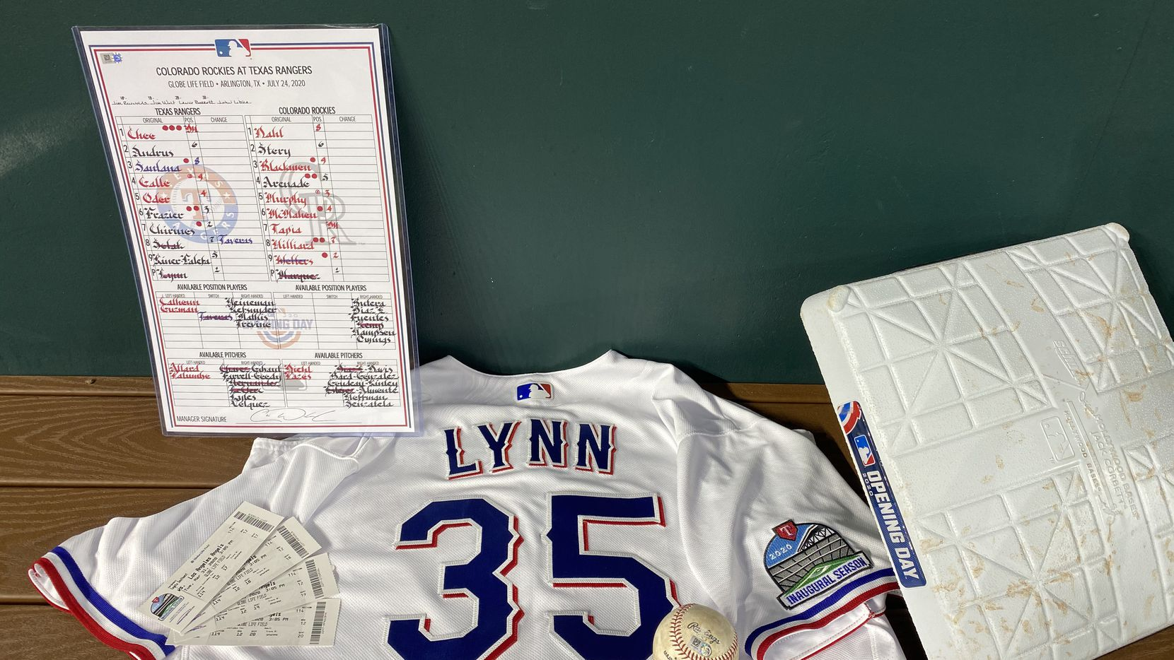 These are the items that the Rangers donated to the MLB Hall of Fame.