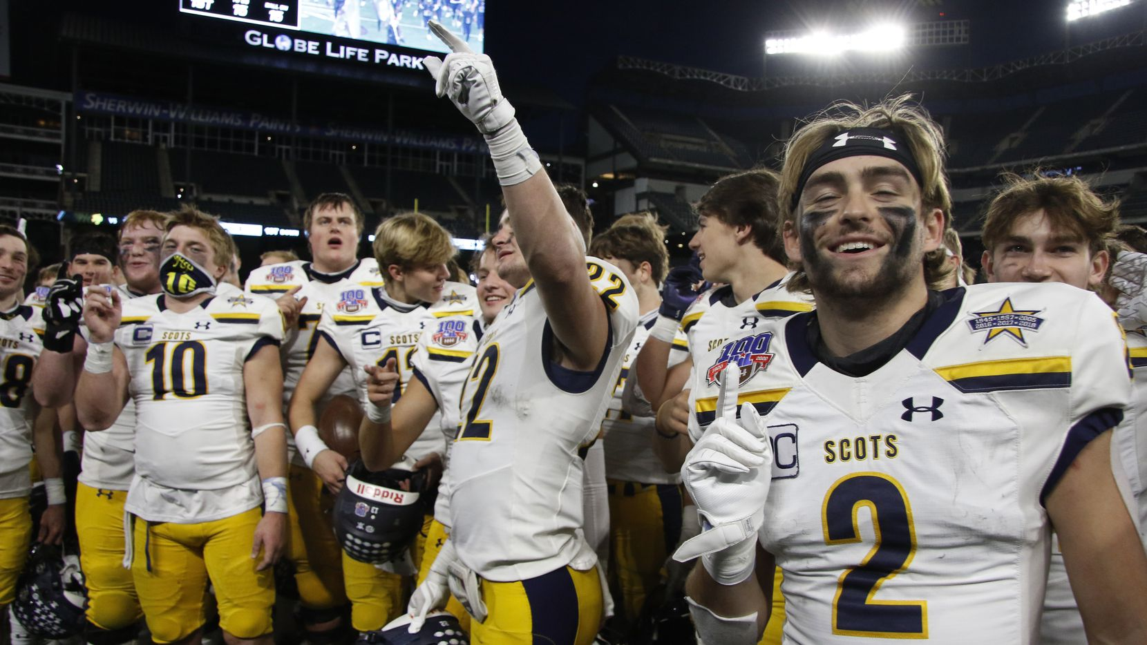 Highland Park receiver Will Pettijohn (2) sports a gesture following the team's 30-20 victory over Frisco Lone Star to advance.The two teams played their Class 5A Division l Region ll semifinal football playoff game held at Globe Life Park in Arlington on December 24, 2020.
