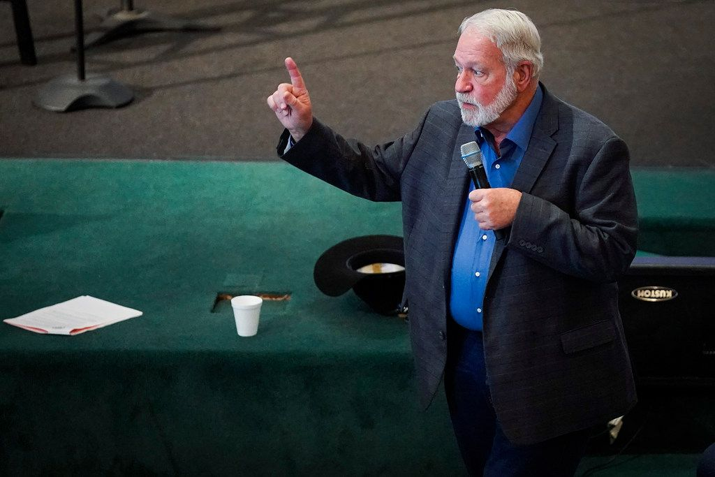 Jack Wilson, the head of the West Freeway Church of Christ volunteer security team who stopped a gunman at the church in White Settlement, addresses a church safety seminar at North Pointe Baptist Church on Sunday, Jan. 26, 2020, in Hurst, Texas.