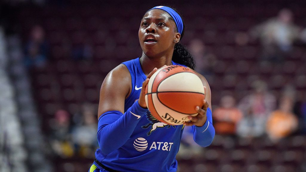 Dallas Wings' Arike Ogunbowale during the first half of a preseason WNBA basketball game, Tuesday, May 14, 2019, in Uncasville, Conn. (AP Photo/Jessica Hill)