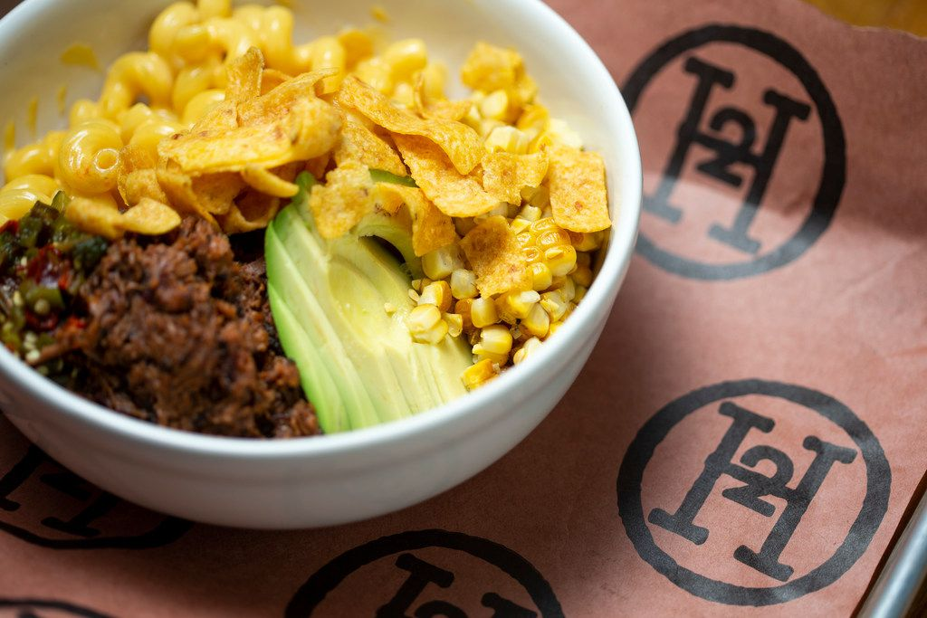 One example of H2Oak's loaded mac and cheese might come with brisket, Fritos, corn and avocado.