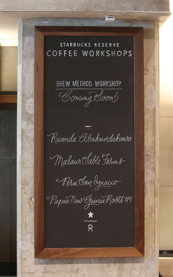 Starbucks Reserve Bar in Dallas features four coffees per day.