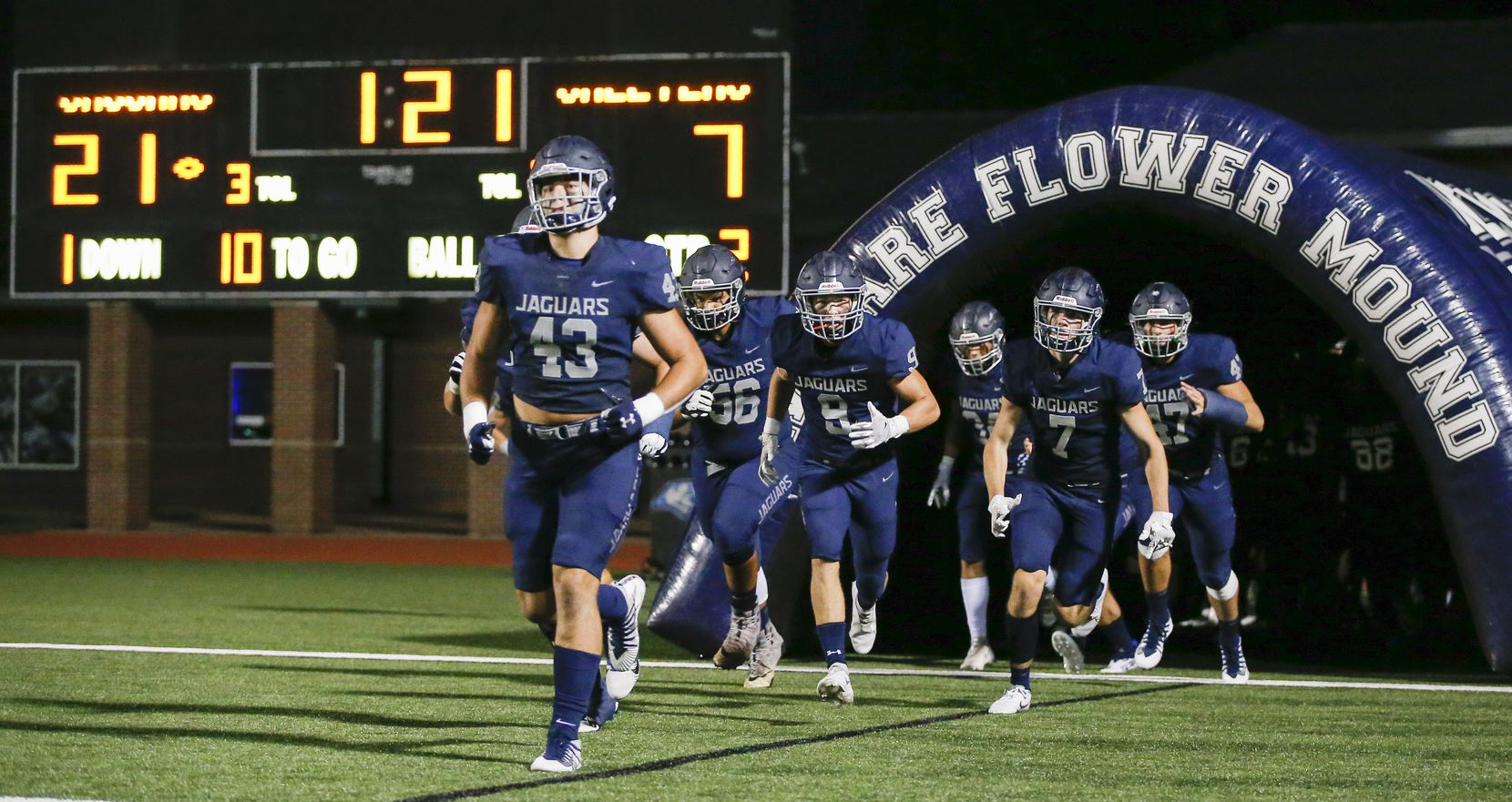 Flower Mound takes the field for the second half a high school football game against Mesquite at Flower Mound High School, Friday, August 27, 2021. (Brandon Wade/Special Contributor)