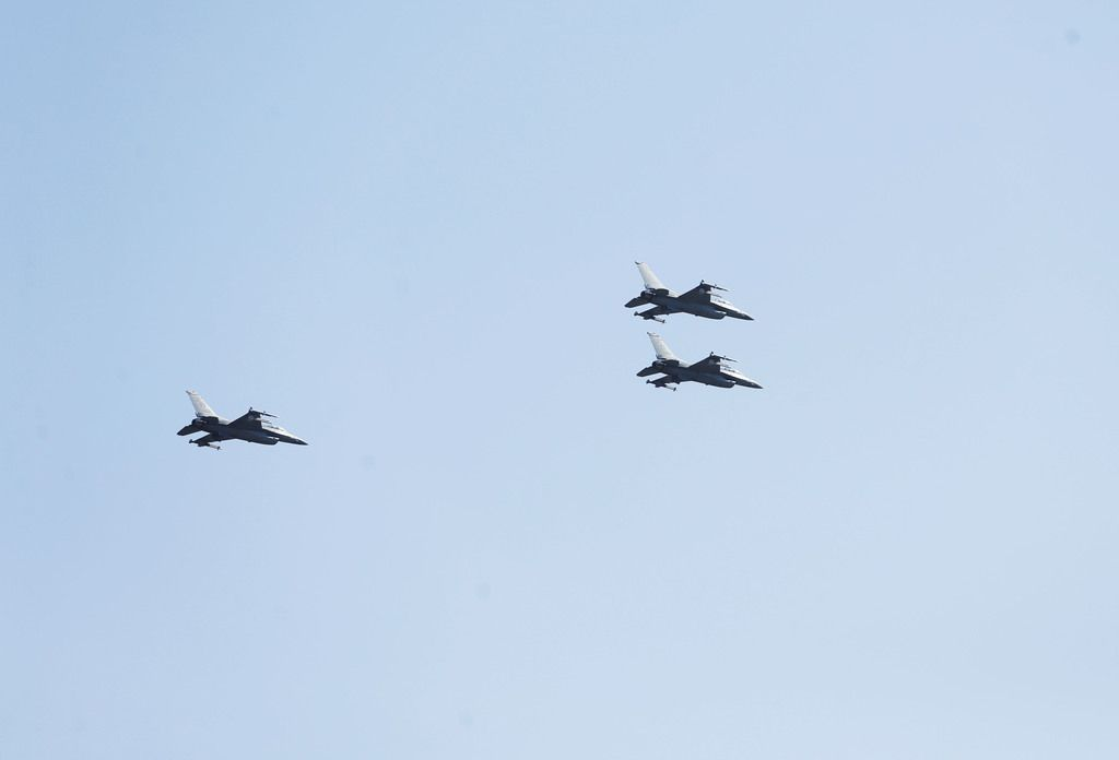 In honor of Ross Perot's commitment to the military and veterans, F-16s flew in a missing man formation over his gravesite service at Sparkman-Hillcrest Memorial Park Cemetery in Dallas.