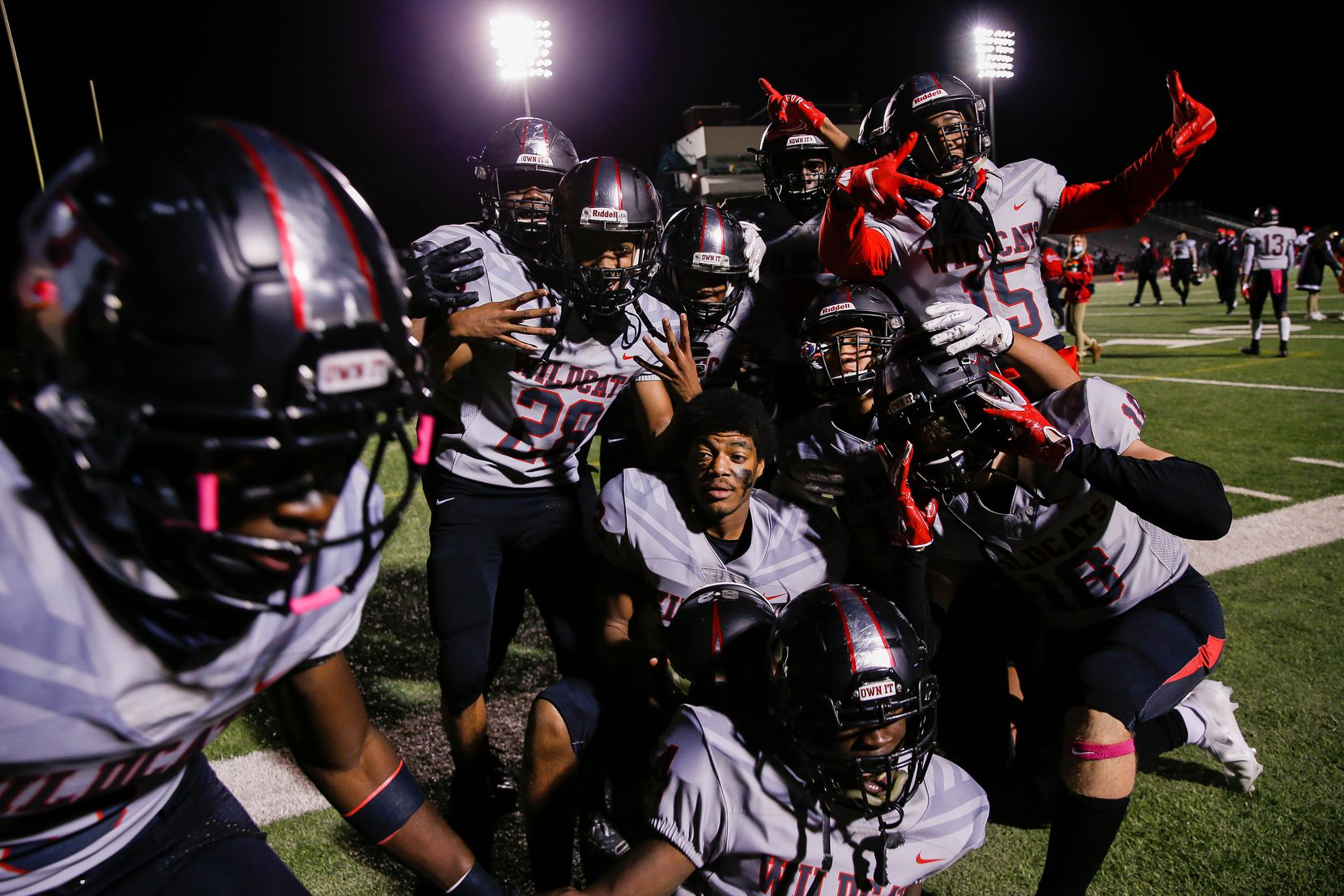 Lake Highlands players celebrate after winning against Irving MacArthur at Joy & Ralph Ellis Stadium in Irving on Friday, Oct. 23, 2020. Lake Highlands won the game, 44-19. (Juan Figueroa/ The Dallas Morning News)