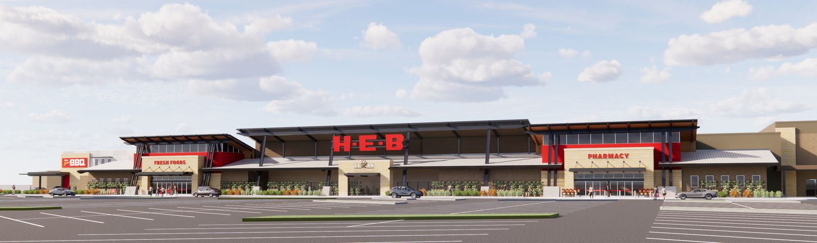 Rendering of the H-E-B store in Plano that's scheduled to open in fall 2022 on the southwest corner of Preston Road and Spring Creek Parkway. The Lakeside Market shopping center is just to the south.