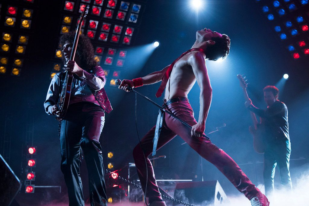 This image released by 20th Century Fox shows Gwilym Lee (left), Rami Malek and Joe Mazzello in a scene from Bohemian Rhapsody.