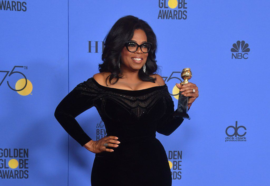 Oprah Winfrey with the Cecil B. DeMille Award during the 75th Golden Globe Awards in Beverly Hills, California. Winfrey's rousing speech at the Globe Awards ceremony ignited speculation that the billionaire entertainment mogul, the first black woman to own a television network, is harboring Oval Office ambitions.