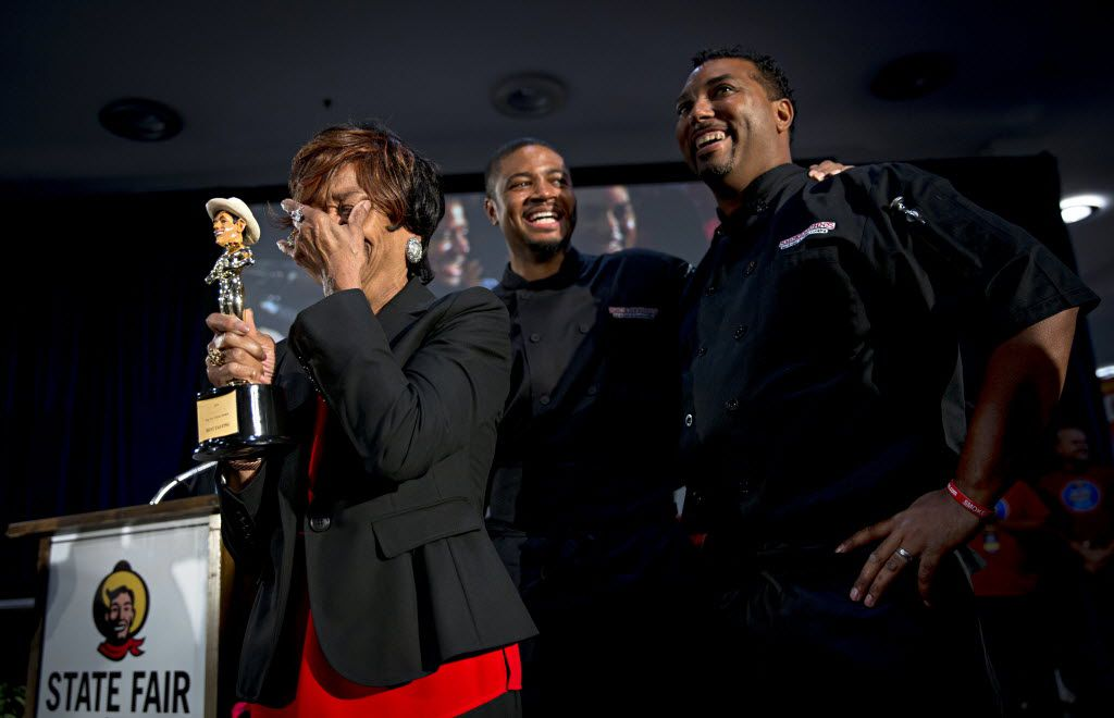 """(From left) Ruth Hauntz, Brent Reaves and his brother, Juan Reaves, react after winning """"Best Taste"""" for the Fried Jell-O during the 2016 Big Tex Choice Awards Sunday, August 28, 2016 at Fair Park in Dallas. The annual event, held ahead of the State Fair of Texas, recognizes the best fried foods entered into consideration for sale at the fair. (G.J. McCarthy/The Dallas Morning News)"""