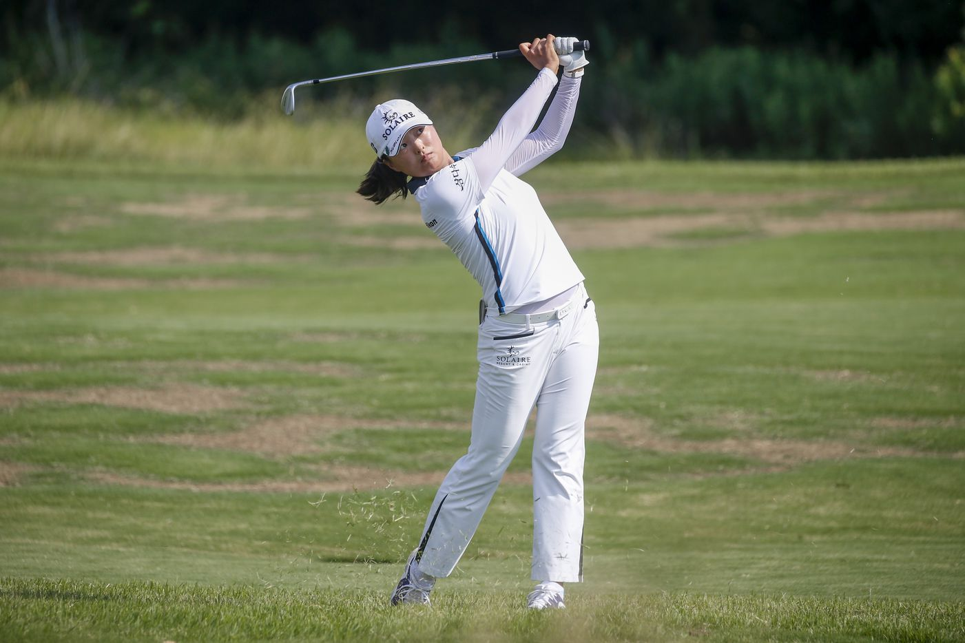 Professional golfer Jin Young Ko plays a ball off the No. 12 fairway during the final round of the LPGA VOA Classic on Sunday, July 4, 2021, in The Colony, Texas. Ko won the tournament, finishing at 16 under par. (Elias Valverde II/The Dallas Morning News)