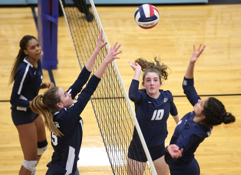 Megan Farris (10) of Flower Mound sets up the ball for her teammate during a high school volleyball game against Keller High School and Flower Mound High School on Monday, Nov. 4, 2019 at L.D. Bell High School in Hurst, Texas.(Duy Vu/Special Contributor)